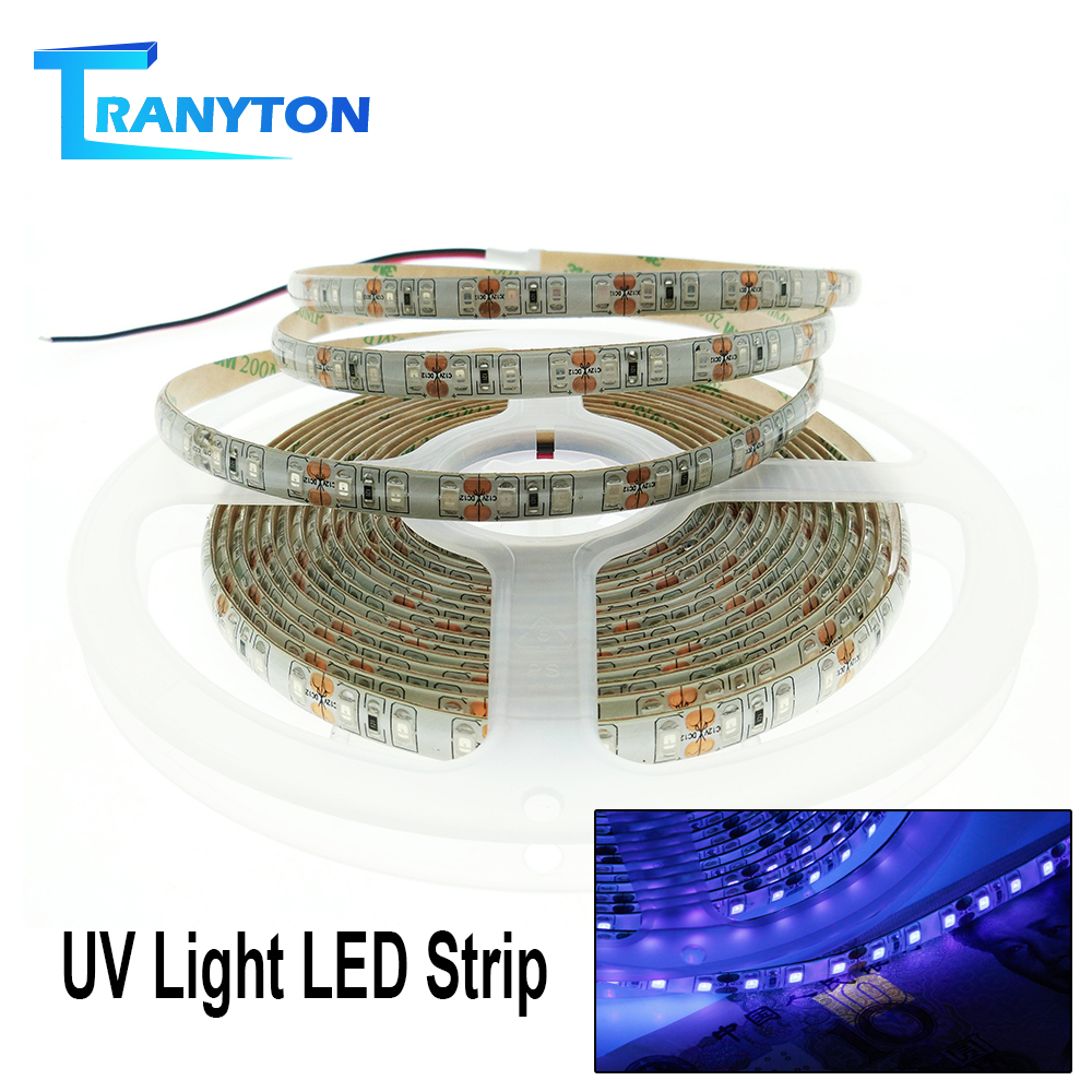 <font><b>UV</b></font> <font><b>LED</b></font> <font><b>Strip</b></font> 2835 DC12V Waterproof Flexible <font><b>LED</b></font> Tape For DJ Fluorescence Party 60leds/m 120leds/m Ultraviolet Disinfection Light image