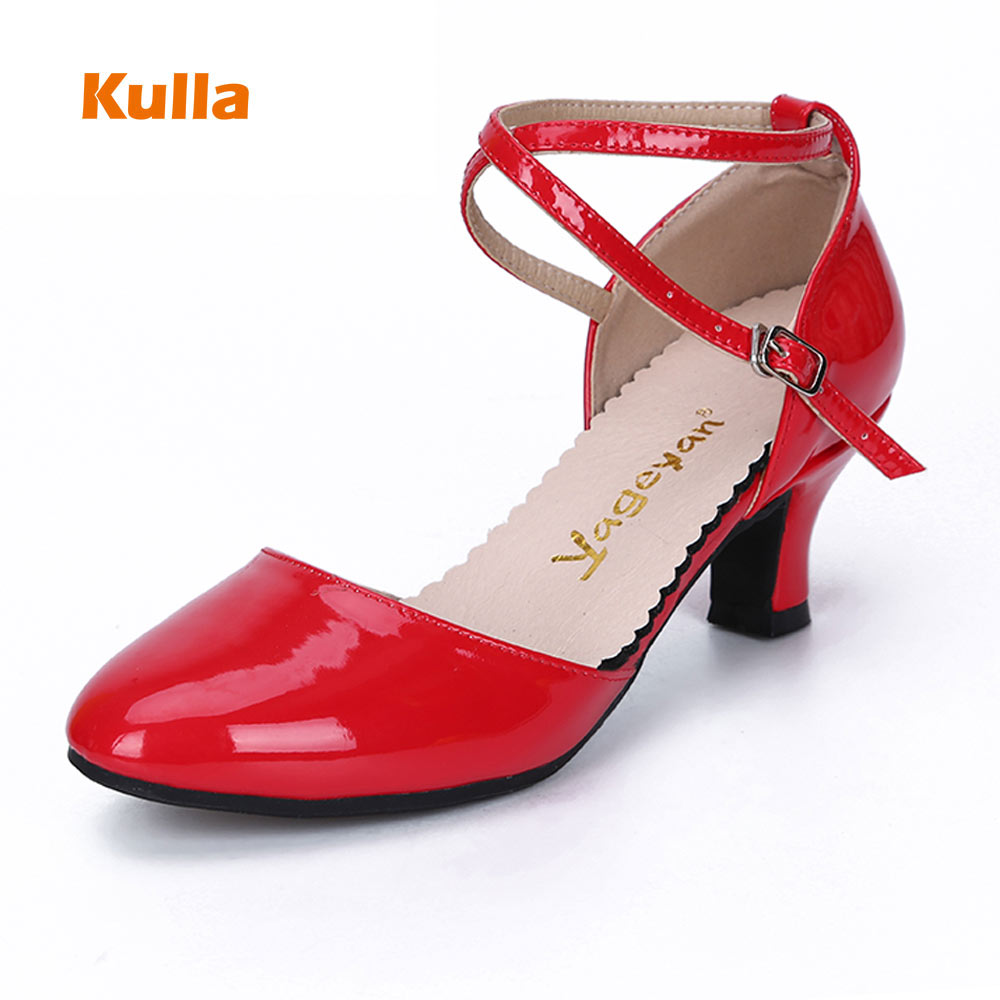 Kulla Women Latin Dance Shoes Patent Leather Salsa/Tango Dancing Shoes For Girl Rubber Outsole Ballroom Outdoor Shoes 5.5cm Heel