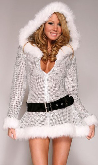 New Silver Sequins Hooded Santa Claus Xmas Adult Women Party Dress Sexy Unique  Christmas Costume Cosplay