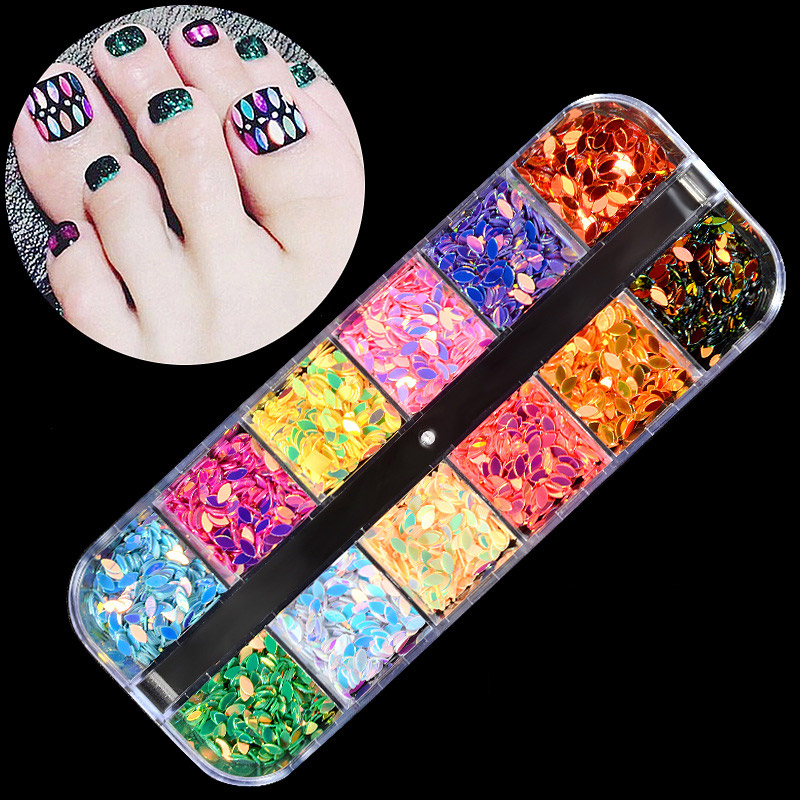 1 Case Crystal Rhinestones Nails Tips Mixed Color Glitter Designs