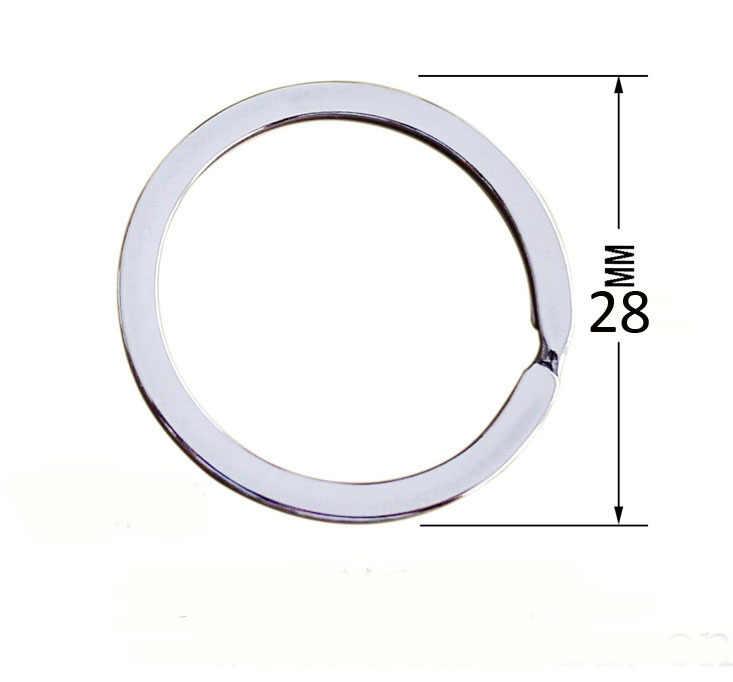 10 pçs/lote aço inoxidável Ferro Redonda De Metal Chaveiro Rhodium Dividir Key Ring Cadeia 25mm 28mm 30 35 33 32mm mm mm mm