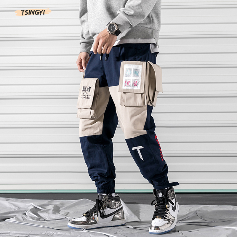 Tsingyi Embroidery Print Chinese Letter Multi-Pocket Cargo Pants Men Streetwear Joggers Army Green Spliced Ankle-Length Trousers