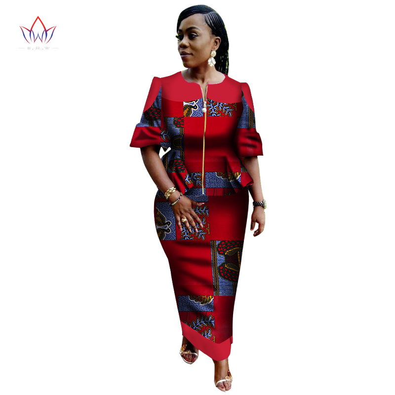 4d024597b39ce US $63.59 |robe africaine femme bazin o neck print Skirt set robe wax  african clothing plus size women cotton clothing puff sleeve WY2803-in  Women's ...