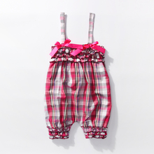 0 3 Month Girl Clothes Infantil 0-2y Newborn Infant Baby Girls piald Jumpsuit Children Pink Plaid Layette Bebe Girls Romper(China)