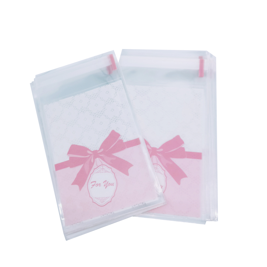 100pcs/lot Kawaii  Pink Bow Lace Flower Plastic Packing Bag Transparent Self-adhesive DIY Gift  Bag 7*10cm