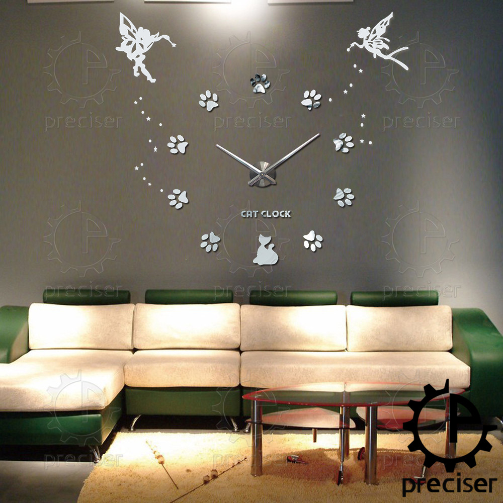 Amazing Aliexpress.com : Buy 25u0027u0027 40u0027u0027 Large Oversized DIY 3D Wall Clock Angel  Guardian Digital Big Mantel Clocks Kitchen Modern Self Adhesive Clock  Watches From ... Part 22