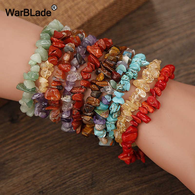 WarBLade, 35 colores, pulsera de piedra gema Natural para mujer, Ojo de Tigre, cristal de cuarzo, cuentas de Chip elásticas, brazaletes de pepitas