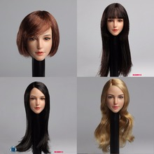 1/6 Scale Head play Asian pretty beauty Girl with plant balck long /short hair Female head  Fit 12 Figure Body Accessory