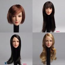 1/6 Scale Head play Asian pretty beauty Girl Head with plant balck long /short hair Female head  Fit 12