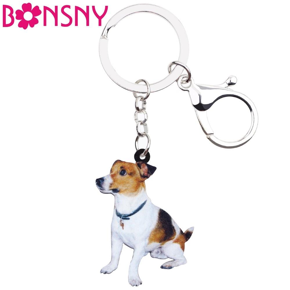 Bonsny Acrylic Sitting Jack Russell Terrier Dog Key Chains Keyrings Lovely Jewelry For Women Girl Ladies Handbag Charms Bulk Pet