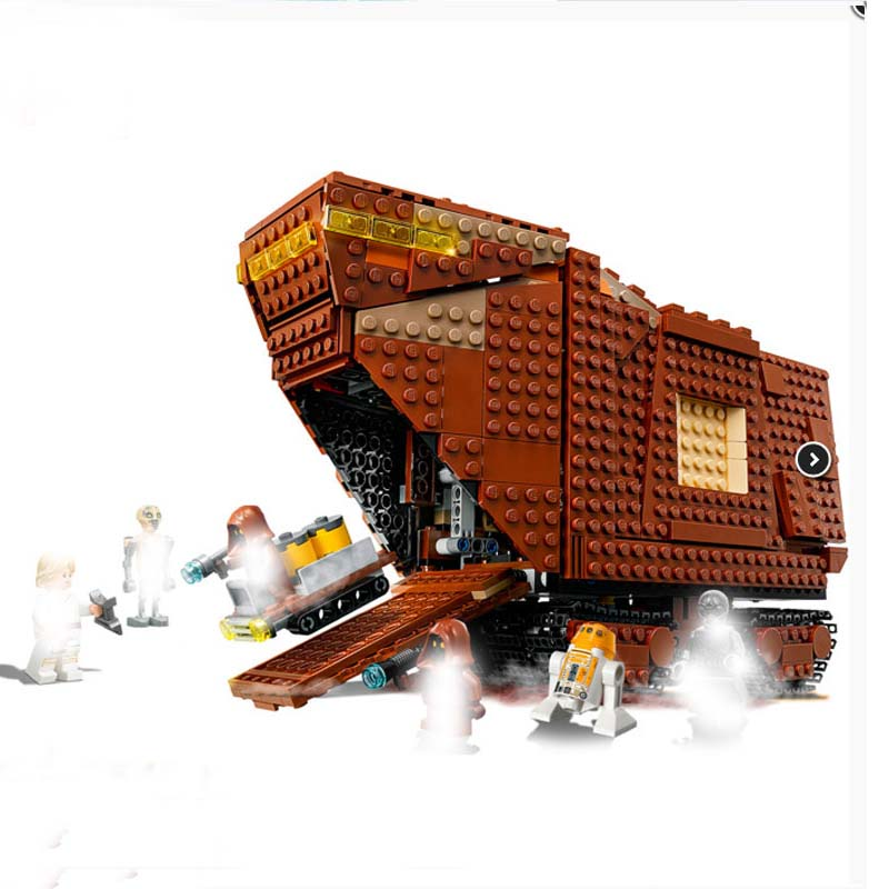 Star Wars Compatible Legoings 75220 Toys For Children the Sandcrawler Model Building Set Blocks Bricks DIY Christmas Gifts 482pcs star space the ja quadjumper set model building blocks bricks toys kids gifts compatible legoings star series wars 75178