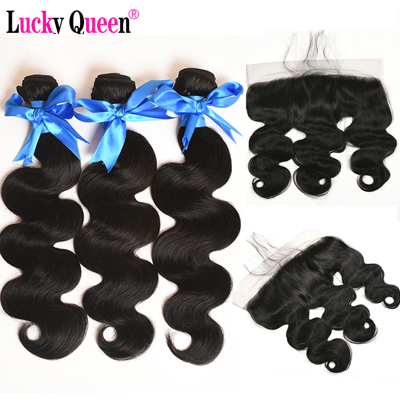 Lucky Queen Hair Products Peruvian Body Wave Bundles 4 Pcs/lot Non Remy 100% Human Hair Extensions With Ear to Ear Lace Frontal