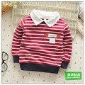 Frete grátis 2016 new baby meninas meninos manga Comprida camisola primavera/outono casaco de algodão Listrado Turn-down Collar roupa do bebê 30