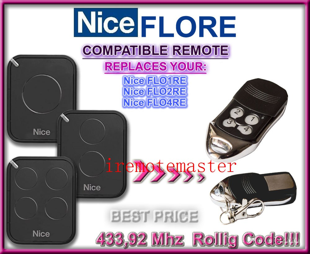 Aftermarket Nice remote FLO1RE,FLO2RE,FLO4RE 433,92MHZ Rolling code! compatible remote free shipping 2013 new version nice transmitter nice remote control smilo 2 smilo 4 nice replacement remote