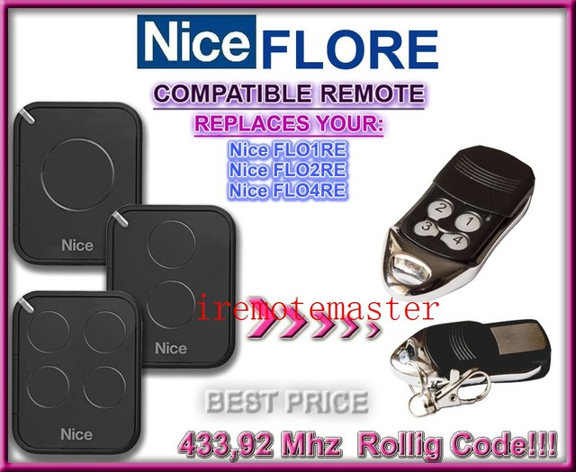 Aftermarket Nice remote FLO1RE,FLO2RE,FLO4RE 433,92MHZ Rolling code! compatible remote free shipping