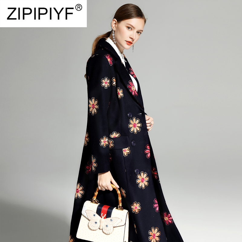 Casual Vintage Women Long Woolen Coats Floral Embroidery Long Sleeve Double breasted Dark Blue Long Overcoats