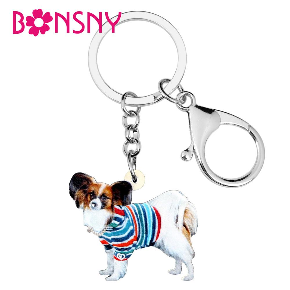 Bonsny Acrylic Colorful Striped Coat Papillon Dog Key Rings Unique Design Bird Jewelry For Women Girls Lovers Charm Decoration