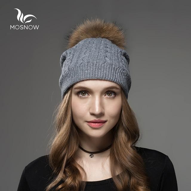 Mosnow 2016 Wool Raccoon Fox Fur Pom Poms Hats For Women  Winter Brand Vogue Warm Knitted Casual  Hat Female Skullies Beanies