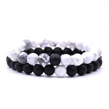 Kanghua 2Pcs/Set Couples Distance Bracelet Classic Natural Stone White and Black Beaded Bracelets for Men Women Best Friend