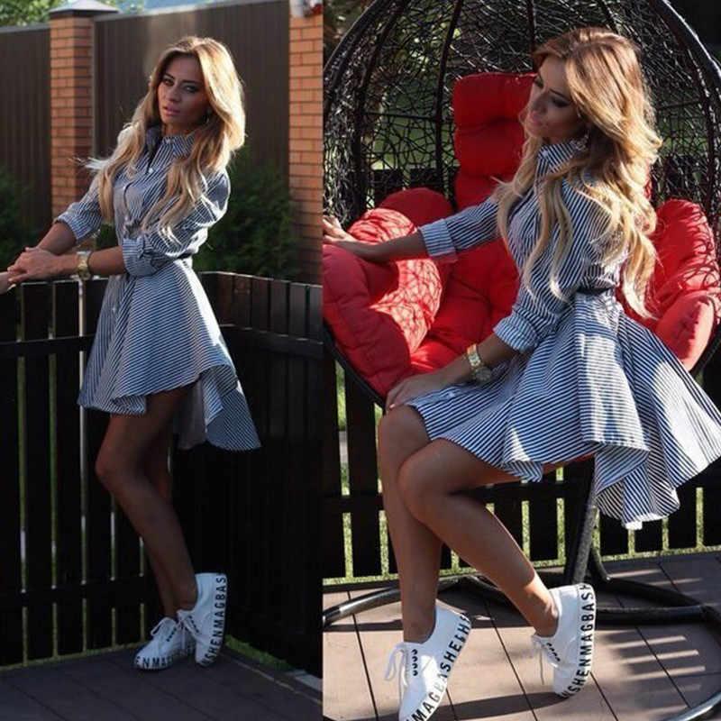 Dziewczyna z paryża wiosna jesienna koszula sukienka kobiety skręcić w dół kołnierz pełne rękawy w stylu Casual, w paski przycisk sukienki z paskiem Mini Vestidos S-XL