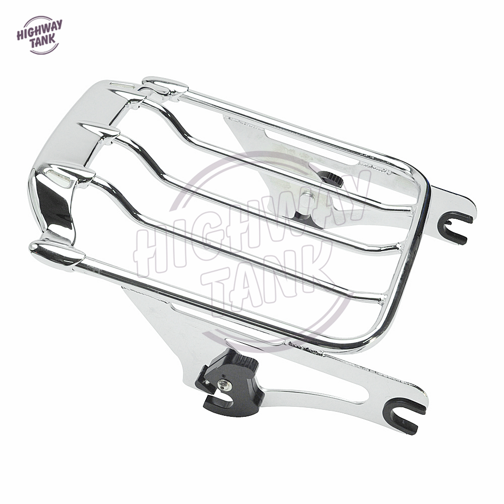 Chrome Motorcycle Air Wing Detachables Two-Up Luggage Rack case for Harley Street Glide Road King 2009-2017 motorcycle chrome luggage rack for harley touring road king street glide cvo road glide street electra glide flhr 2009 2017 16