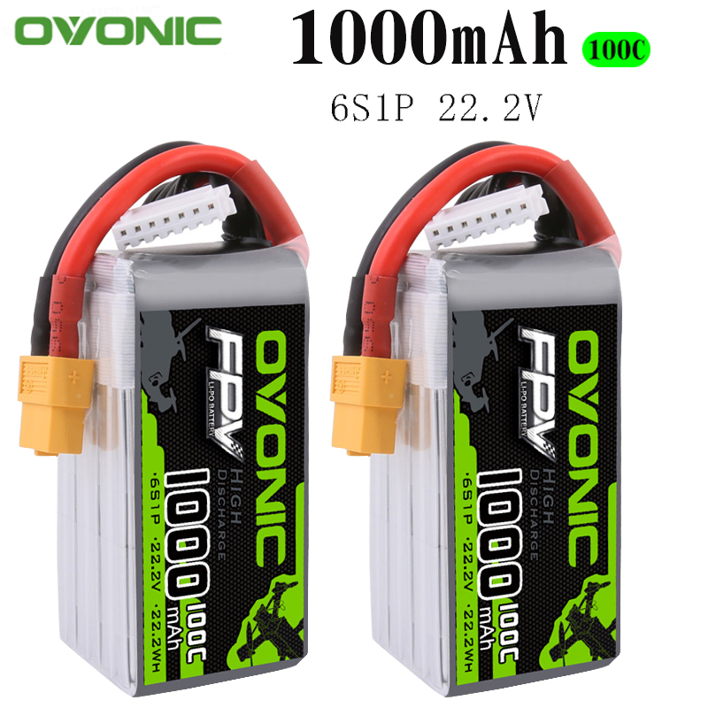 2PCS Ovonic 22.2V 1000mAh 100C  6S1P LiPo Battery Pack With XT60Plug For Tiny Quad RC Airplane Small Helicopter DIY Parts