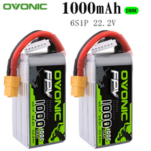 2PCS Ovonic 22.2V 1000mAh 100C 6S1P LiPo Battery Pack with XT60Plug for Tiny Quad RC Airplane Small