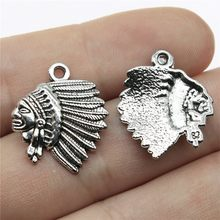 20pcs Antique Silver Tone 0.8x0.7 inch (21x18mm) Indian Chief Head Charms Pendant For Jewelry Making Diy Jewelry Findings(China)
