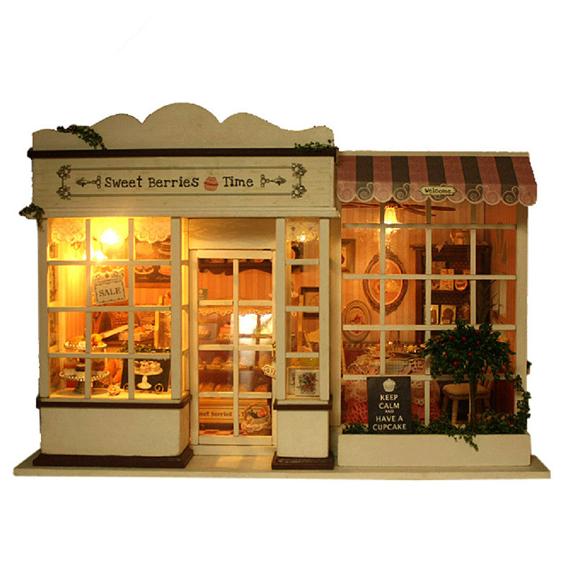 DIY Dollhouse Sweet Berries Time Assembly Voice Control Creative Handmake Cake Store Puzzle Model Building Kit