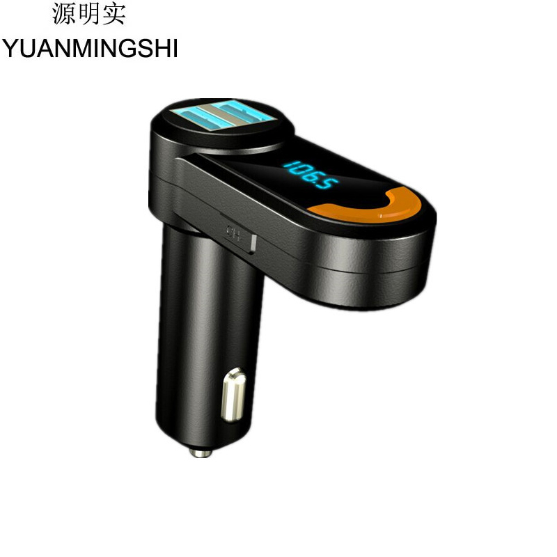 цены YUANMINGSHI Bluetooth Mini 2 Port USB Car Phone Charger With Car FM Transmitter Handsfree FM Transmitter USB Phone Charger