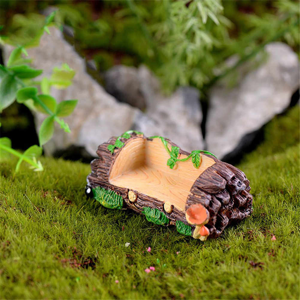 Wooden Stool Stump Bench Chair Figurines Resin Crafts DIY Accessories  2.1x5.8cm Micro Garden