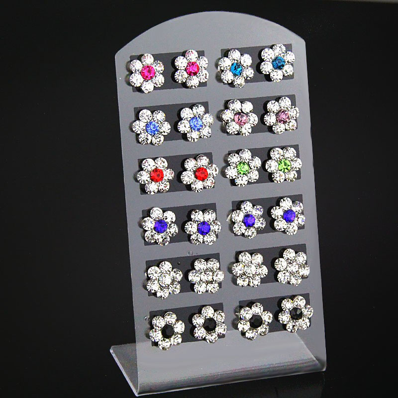 12 Pairs Set Mixed Rhinestone Flower Stud Earrings Silver Color For Women Girls Fashion Jewelry Gift HE08