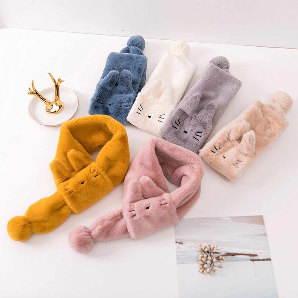 TELOTUNY Children Cute Velvet Cartoon Cat Keep Warm Wraps Baby Scarf Scarves Fashion 2019 Newborn Kids Boys Girls Scarf 19L0716
