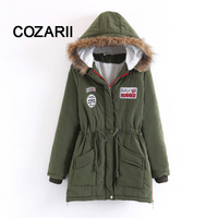 COZARII Winter Thicken Warm Long Big Fur Parka Zipper Hooded Lamb Fur Army Coat Plus Size Winter Warm Jackets Women Fur Coats