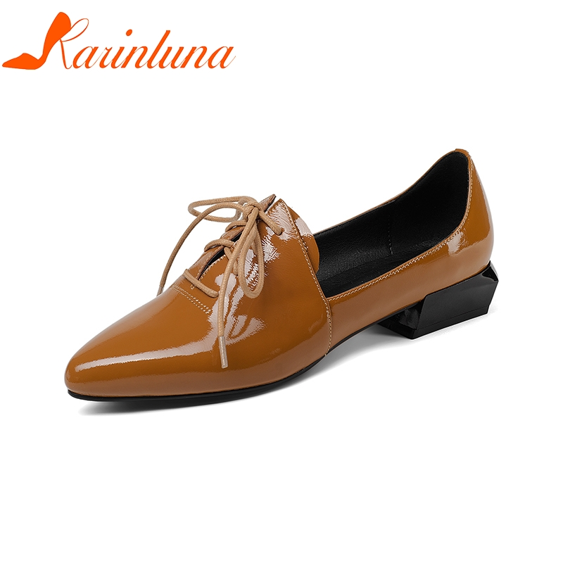 KARINLUNA Genuine Leather 2018 Cow Leather Lace Up Square Heels Women Shoes Woman Black Pointed Toe Pumps Shoes Size 34-39 lapolaka 2018 cow leather rivet suqare low heels women shoes woman slip on pointed toe pumps woman shoes size 34 39