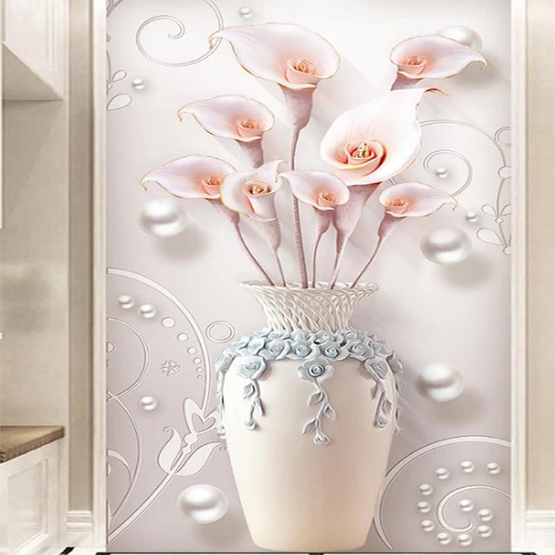 Custom Mural 3D Wallpaper Embossed Stereo Simple European Vase Entrance Mural Corridor Aisle Living Room TV Background Wallpaper