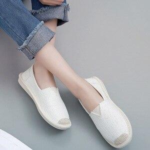 Image 3 - 2018 été lin chaussures plates femmes léger respirant pêcheur chaussures dames doux décontracté loisirs chaussures sans lacet paresseux mocassins