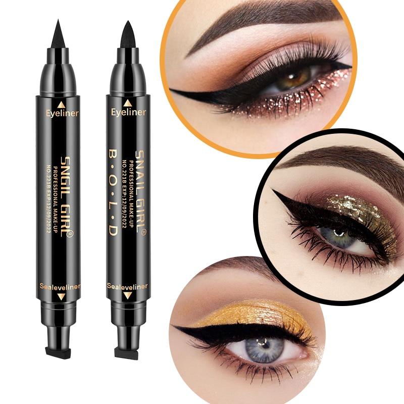 1 Pcs Double-headed Seal Black Eyeliner Triangle Seal Eyeliner 2-in-1 Waterproof Eyes Make Up With Eyeliner Pen Eye Liner Stamp Beauty Essentials