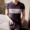 Striped Navy Gray M-5xl Short Sleeve Polo Shirt Men Business Casual Mens Polo Shirts Camisa Polo Masculino Polos Homme PA39