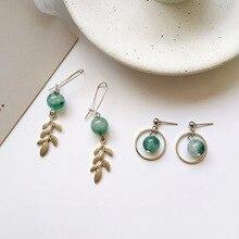 Retro geometric creative long tree leaves green forest style beads ball drop earrings woman jewelry