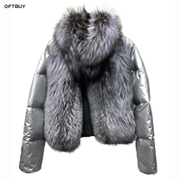 2019 winter jacket women real fur coat natural fox fur collar loose short coat sliver white duck down jacket korean clothing