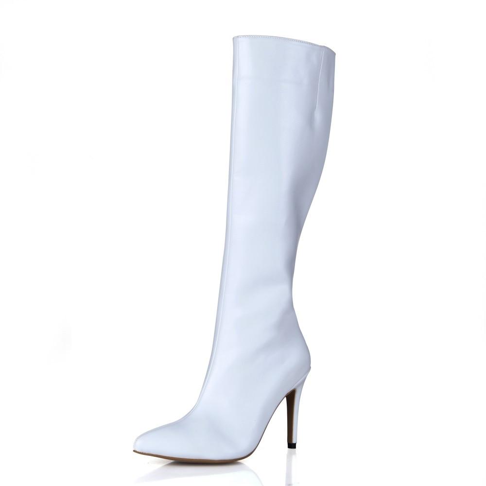 2017 New High Heels Women Pointed Toe Sexy Blackwhite Pu -3418