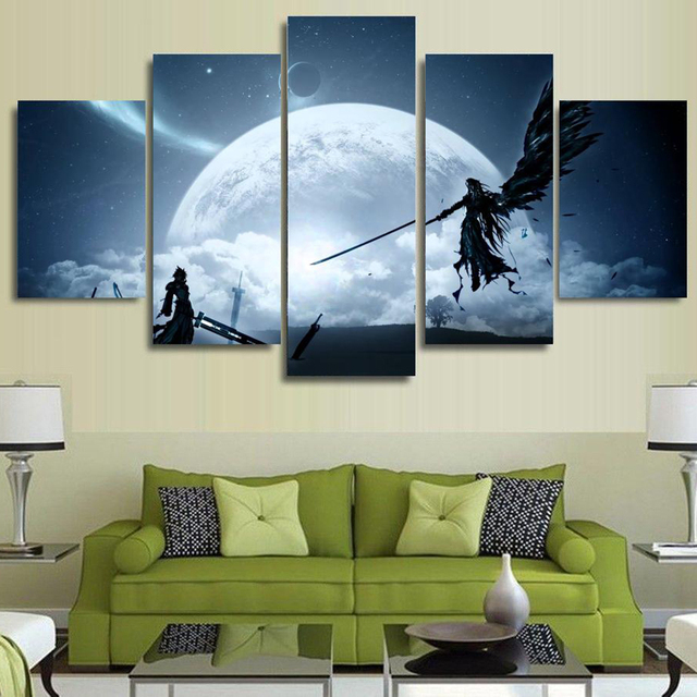 Canvas Wall Art Pictures Home Decor 5 Pieces Final Fantasy Game Animation Characters Scene Paintings HD Prints Posters Framework