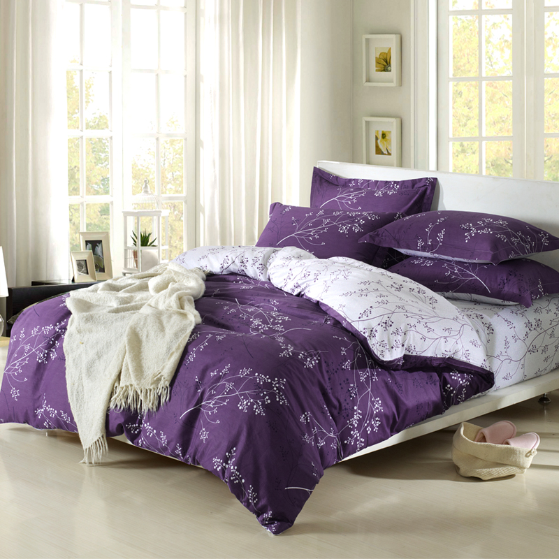 Slanting 100 Cotton Stripe Print Princess Purple Duvet Cover 4pcs Bedding Sets Free Shipping In From Home Garden On