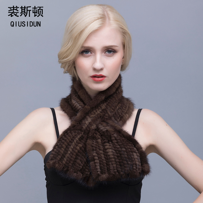QIUSIDUN Real Fur Scarf Winter Women's Warm Mink Knitted Scarf Female - Apparel Accessories