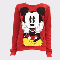 Womens Character Mouse Printed Sweatshirt Hoodies Casual Pullover Cute Jumpers Top Long Sleeve O Neck Fleece