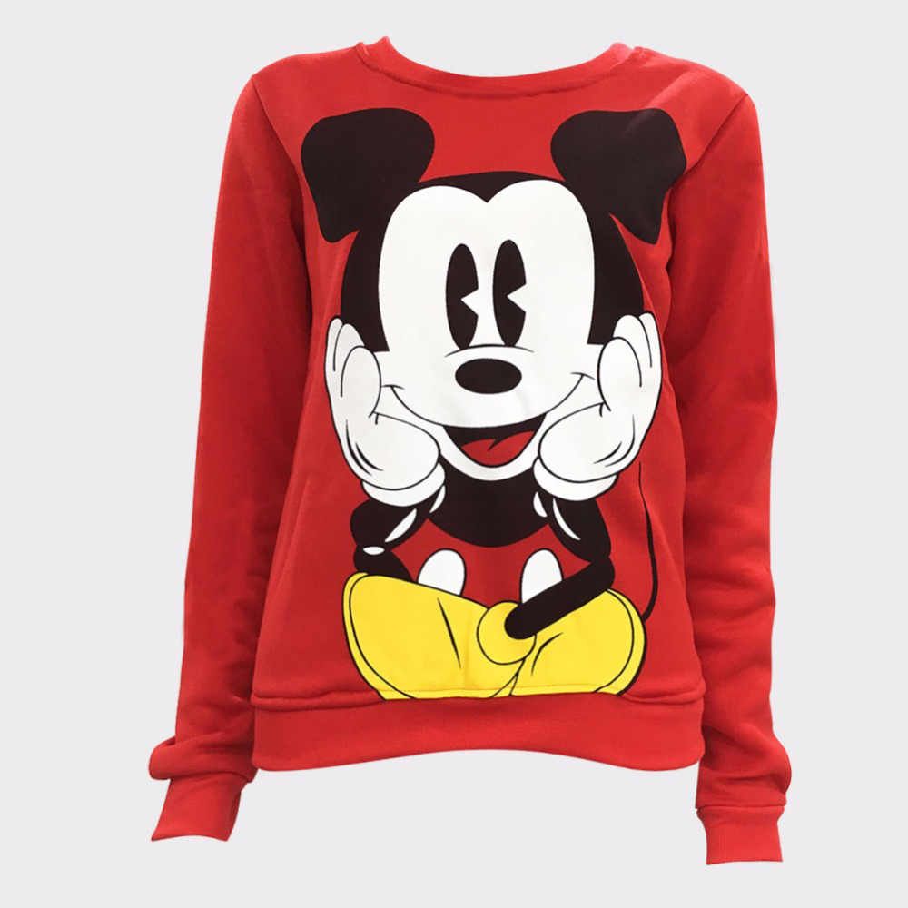 Womens Character Mouse Printed Sweatshirt Hoodies Casual Pullover Cute Jumpers Top Long Sleeve O-Neck Fleece Swatershirts