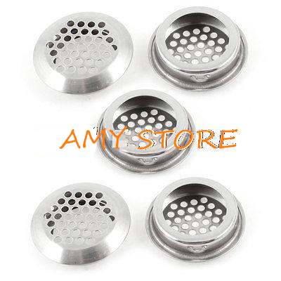 5 X Office Round Design Metal Air Vent Hole Ventilation Louver 35mm Dia Botton