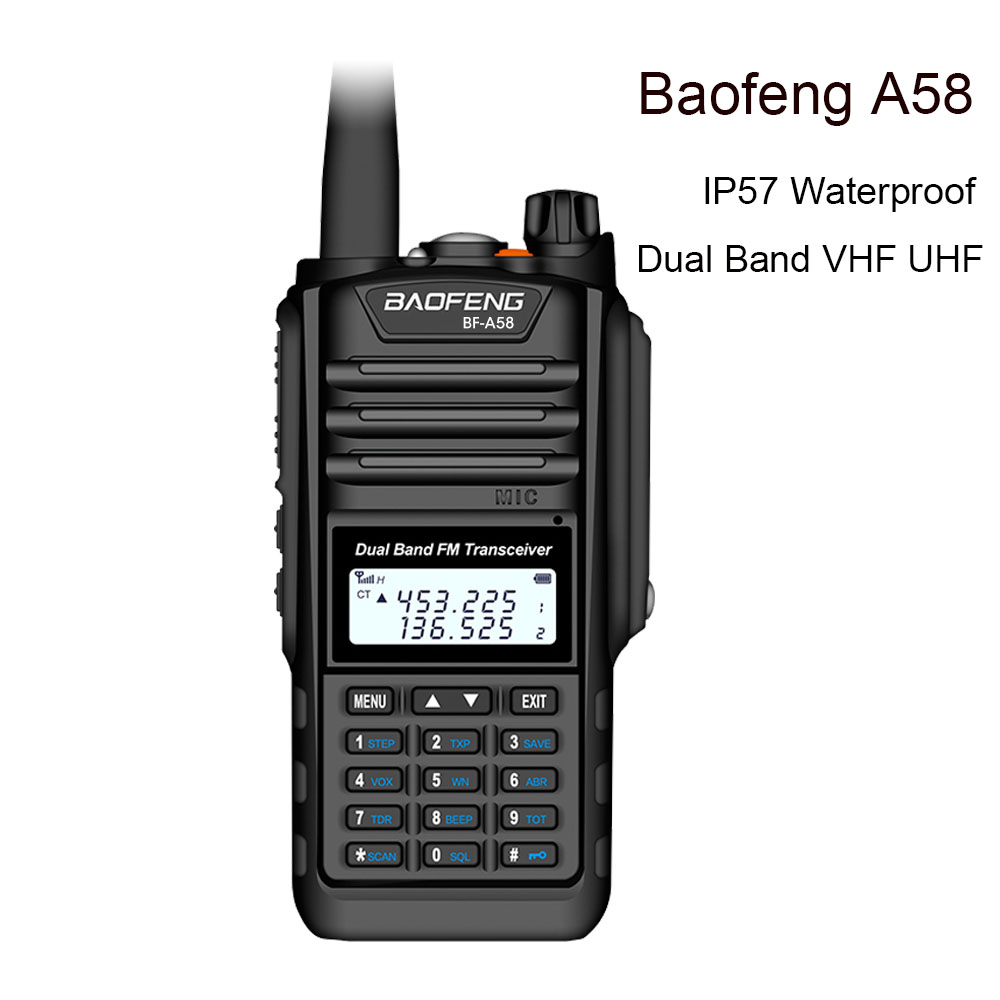 Baofeng BF A58 Walkie Talkie IP57 Waterproof 128CH Dual Band UHF VHF Two Way Radio Handheld FM Transceiver CB Ham Radio Station