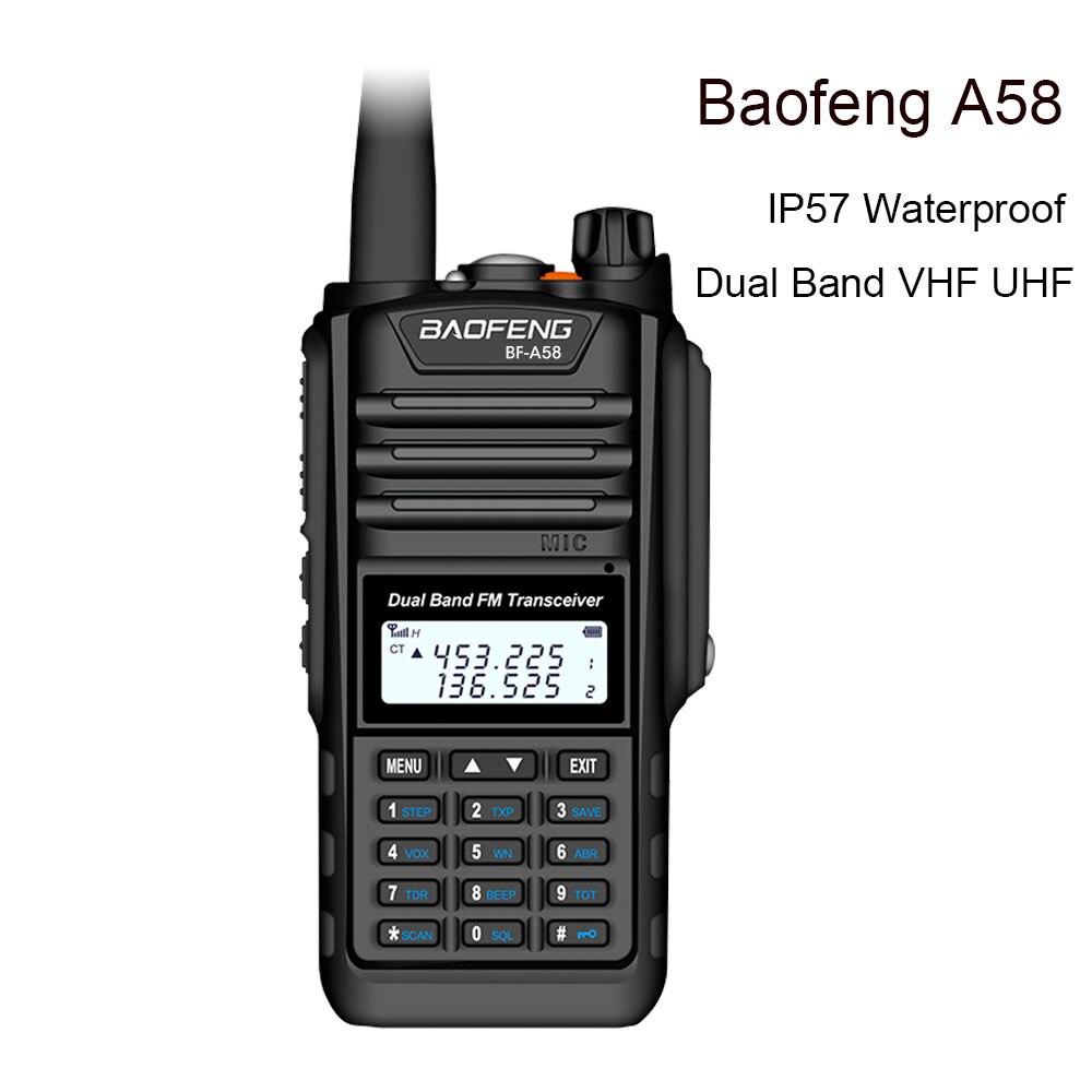 Image 2 - De Baofeng BF A58 Walkie Talkie IP68 impermeable 128CH de doble banda UHF, VHF Radio de dos vías transmisor FM portátil CB estación de Radio aficionadoTransceptor   -
